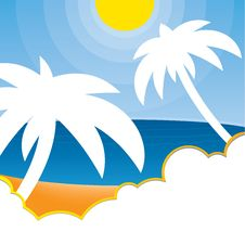 Vector Tropical Palm Tree Background Royalty Free Stock Photography