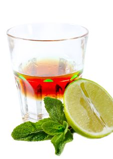 Cocktail With Mint And Lime Stock Images