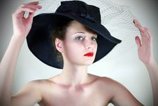 Free Portrait Of A Cute Girl In A Hat Stock Images - 24836944