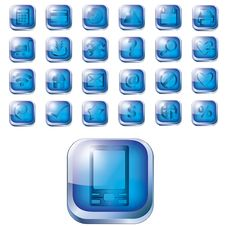 Free Glossy Blue Icon Set For Web Royalty Free Stock Photo - 24840335