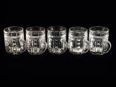 Free Five Empty Beer Glasses Stock Photo - 24844630