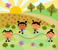 Free Park Scene With Jump Rope Stock Image - 24846421