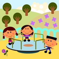 Park Scene With Merry Go Round Stock Images