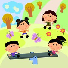 Free Park Scene With Seesaw Royalty Free Stock Images - 24846439