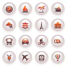 Free Travel Icons For Web.  Black Red Series. Stock Photography - 24848092