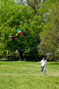 Free Man And Flying Kite Royalty Free Stock Image - 24848616