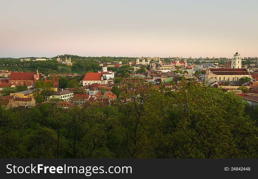 View to old Vilnius from Gediminas castle