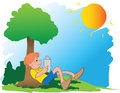 Free A Boy Reading Book Under Tree Stock Images - 24854614
