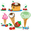 Free Set Of Tasty Ice Cream And Cake Royalty Free Stock Image - 24856156