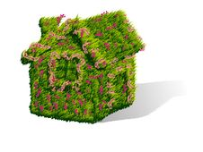 Free Green House With Flowers Royalty Free Stock Photography - 24855377