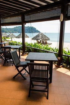 Beach Restaurant S Table And Chair Royalty Free Stock Photos