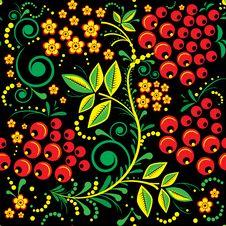 Free Khokhloma Seamless Pattern Background Stock Photos - 24856183