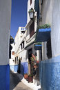 Free Narrow Blue Streets Of Rabat Stock Photo - 24869170