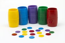Pieces And Dice Cups Stock Image