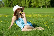 Free Girl Resting In The Meadow Stock Photography - 24872752