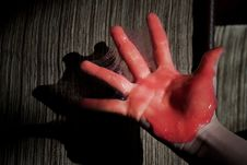 Hand In Red Slime Stock Photos