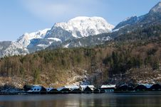 Königsee Boats Houses Royalty Free Stock Photo