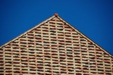 Free Brick Facade Against Blue Sky Royalty Free Stock Images - 24876829