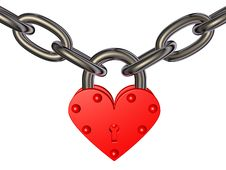 Free Heart - Lock And Chain Royalty Free Stock Photos - 24876988