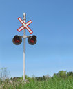 Free Railroad Crossing Signal And Blue Sky Stock Photo - 24896970