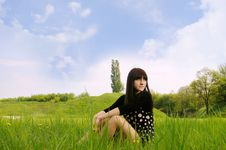 Free Girl  On  Grass Royalty Free Stock Photo - 24890125