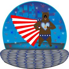 Free Grizzly Super Hero In A Magic 4th July Globe Stock Photo - 24891660