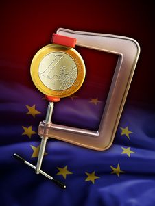 Euro Under Pressure Royalty Free Stock Images