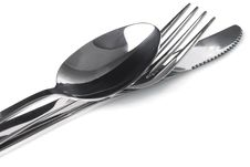 Free Cutlery - A Spoon, Fork And Knife Stacked Up Stock Images - 24895034