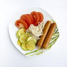 Free Spaghetti, Tomato Cabbage , Sausage Stock Image - 24895091
