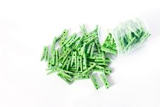 Green Clothes-pegs Stock Images