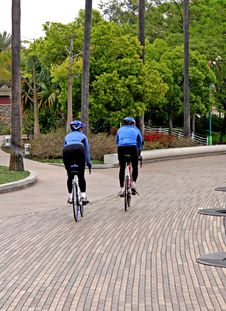 Free Blue Cyclists On Path Stock Image - 2497511