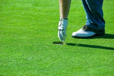 Pulling The Golf Ball Royalty Free Stock Photography