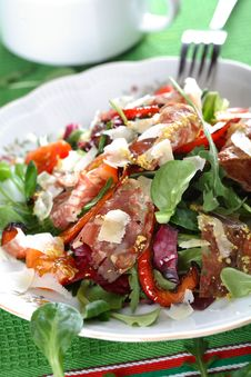 Mixed Salad With Salami Royalty Free Stock Photography
