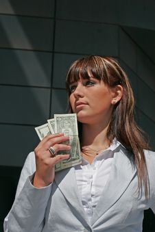 Portrait Of Woman With Dollars Royalty Free Stock Photos