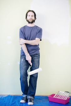 Free Man With Paint Roller Stock Photos - 24901813