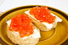 Red Caviar Sandwich Royalty Free Stock Photo