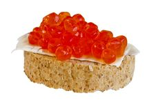 Free Red Caviar Sandwich Isolated Stock Photos - 24905073