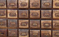 Free Bank Of Old Wooden File Card Drawers Royalty Free Stock Image - 24913736