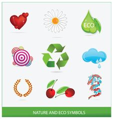 Glass Ecology Green Symbols Set Isolated Royalty Free Stock Images