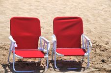 Two Beach Chairs On The Sand Royalty Free Stock Photography