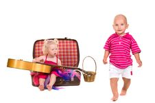 Free Boy And Girl Playing Near A Suitcase, A Guitar Royalty Free Stock Image - 24920866