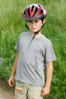 Free Portrait Of Boy Bicyclist With Helmet Stock Photo - 24924410