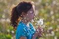 Free Young Girl Blows A Dandelion Stock Photos - 24939523
