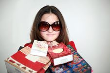 Free A Girl In Glasses After Shopping Stock Photos - 24930723