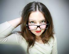 Free Glamor Girl In Glasses Royalty Free Stock Photo - 24930755