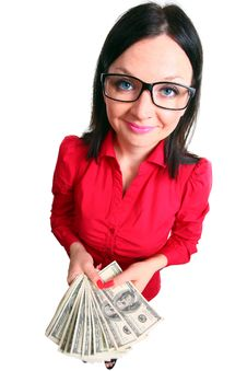 Free Brunette Girl With Money Isolated Stock Photos - 24931263