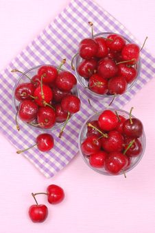 Free Cups With Fresh Cherries Stock Photo - 24931300