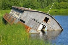 Drifting Barge On River Royalty Free Stock Images