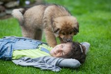 Cute Puppy Licks A Girl Lying In The Grass Royalty Free Stock Photos