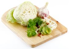 Free Set Of Cabbage And Raw Vegetables Stock Image - 24959271